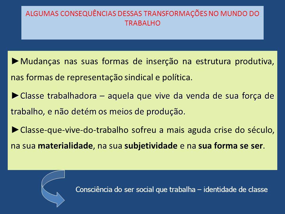 ALGUMAS CONSEQUÊNCIAS DESSAS TRANSFORMAÇÕES NO MUNDO DO TRABALHO