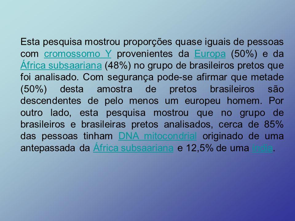 Esta pesquisa mostrou proporções quase iguais de pessoas com cromossomo Y provenientes da Europa (50%) e da África subsaariana (48%) no grupo de brasileiros pretos que foi analisado.