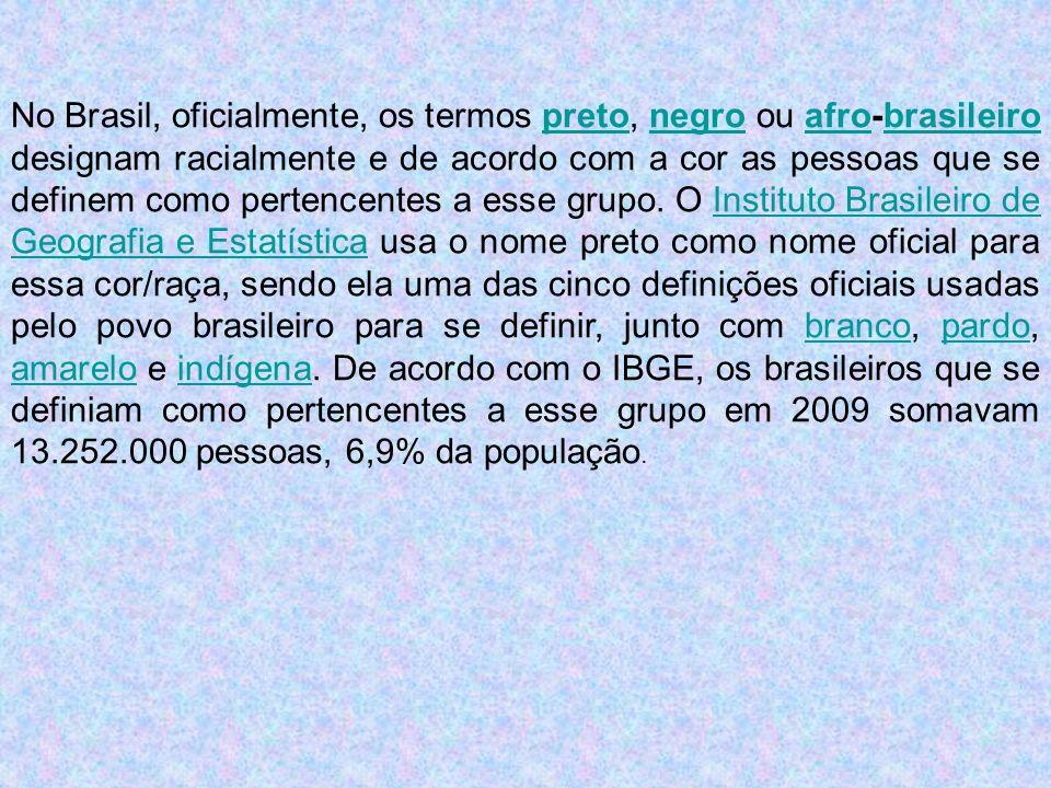 No Brasil, oficialmente, os termos preto, negro ou afro-brasileiro designam racialmente e de acordo com a cor as pessoas que se definem como pertencentes a esse grupo.