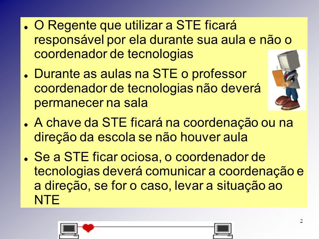O Regente que utilizar a STE ficará responsável por ela durante sua aula e não o coordenador de tecnologias