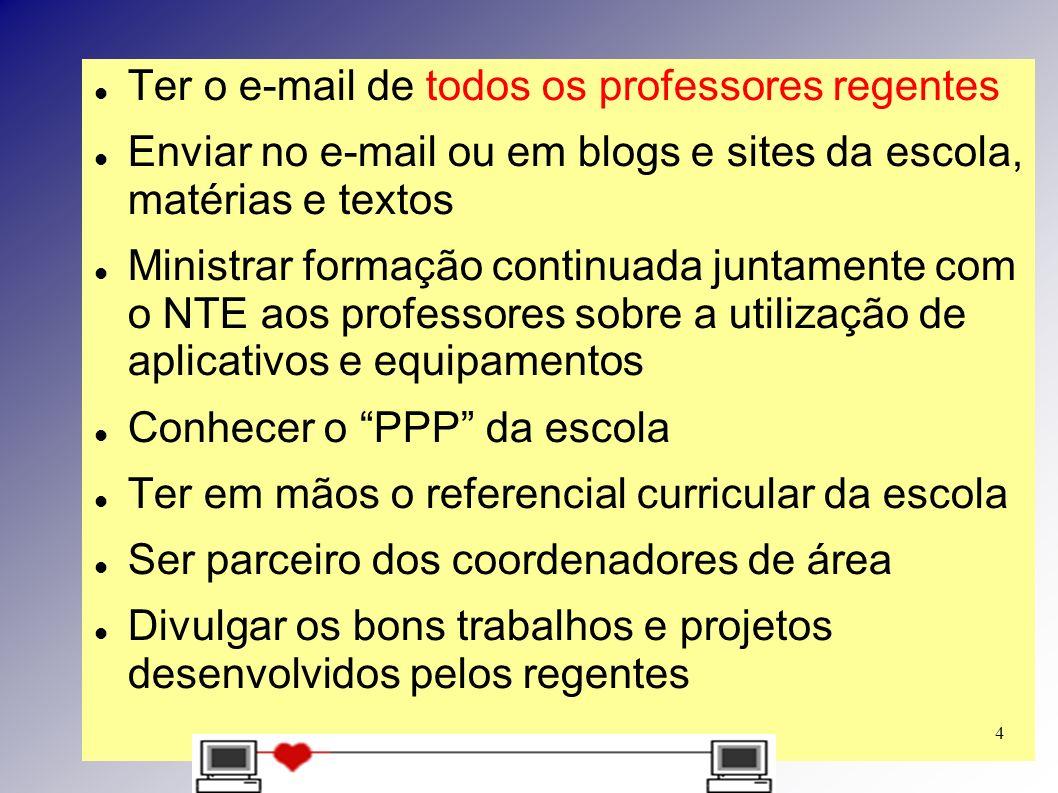 Ter o e-mail de todos os professores regentes