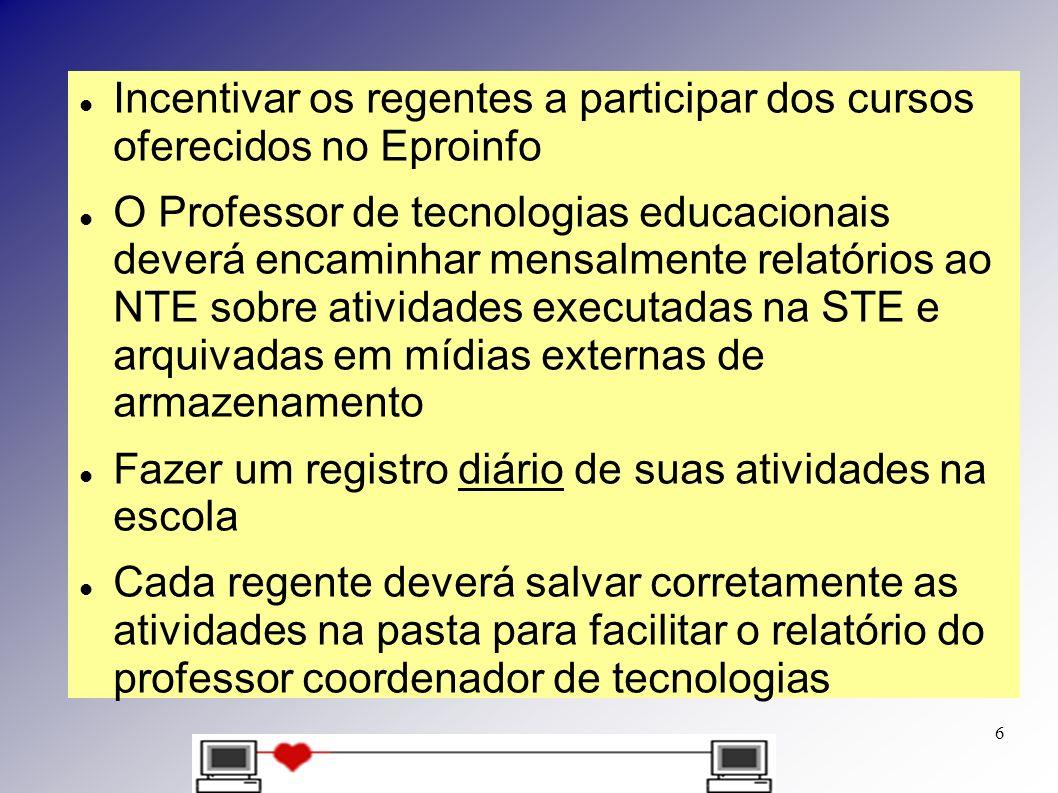 Incentivar os regentes a participar dos cursos oferecidos no Eproinfo