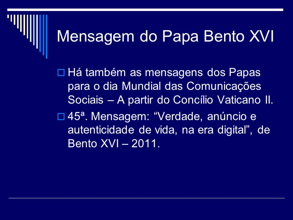 Mensagem do Papa Bento XVI