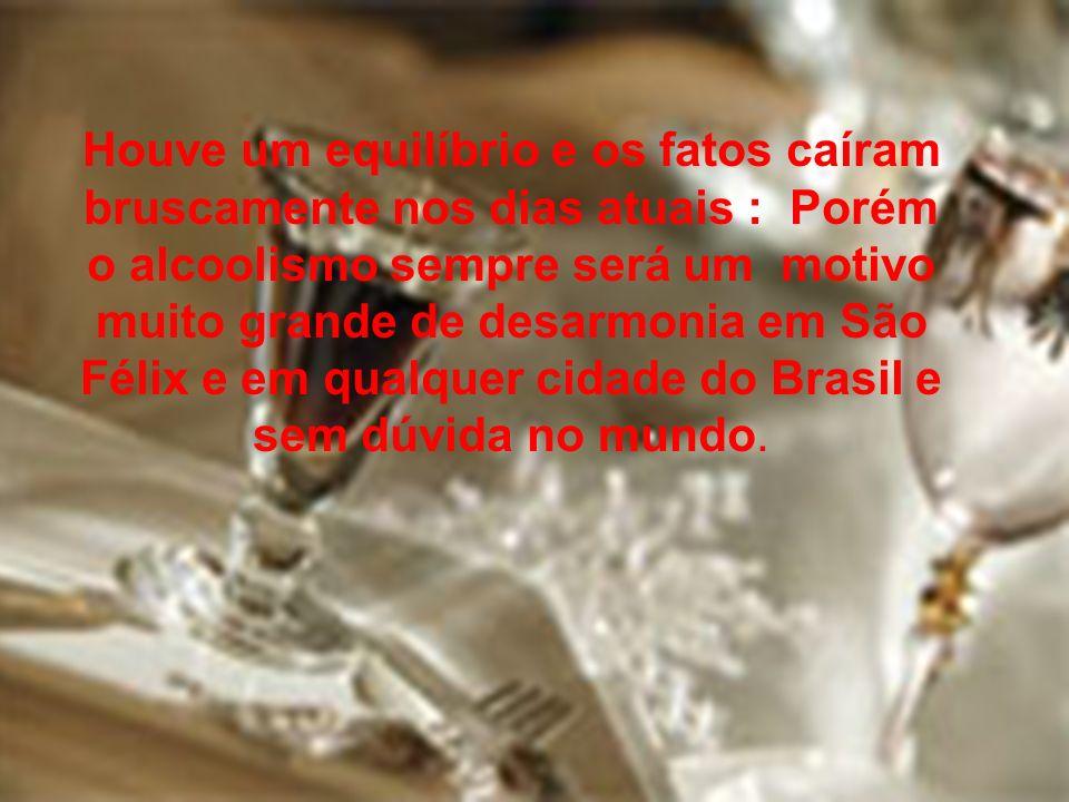 Houve um equilíbrio e os fatos caíram bruscamente nos dias atuais : Porém o alcoolismo sempre será um motivo muito grande de desarmonia em São Félix e em qualquer cidade do Brasil e sem dúvida no mundo.