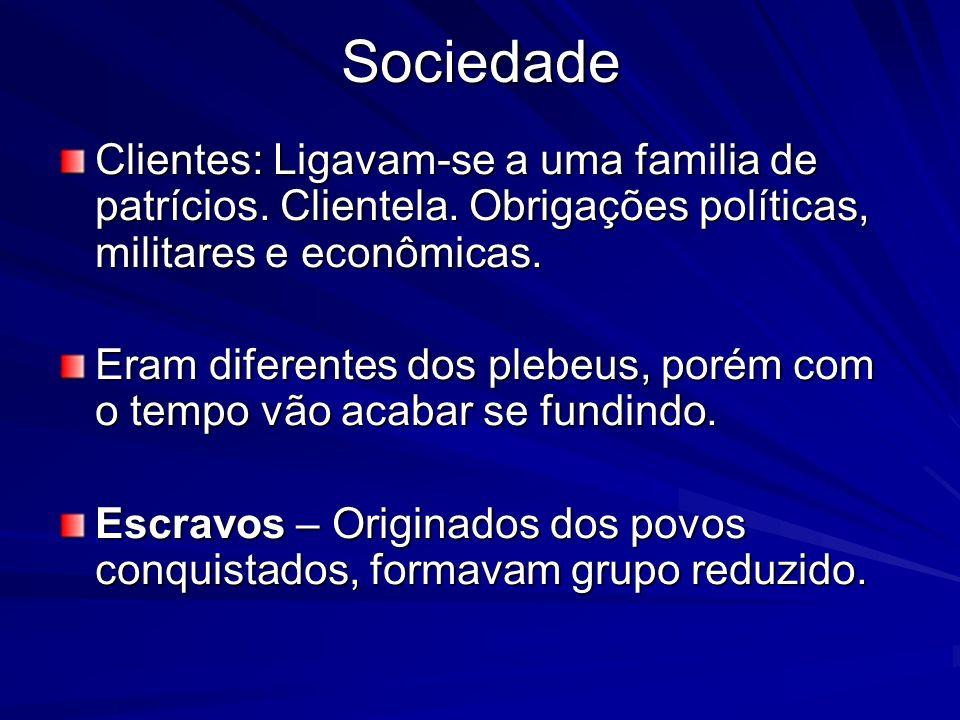 Sociedade Clientes: Ligavam-se a uma familia de patrícios. Clientela. Obrigações políticas, militares e econômicas.