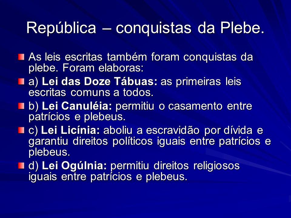 República – conquistas da Plebe.