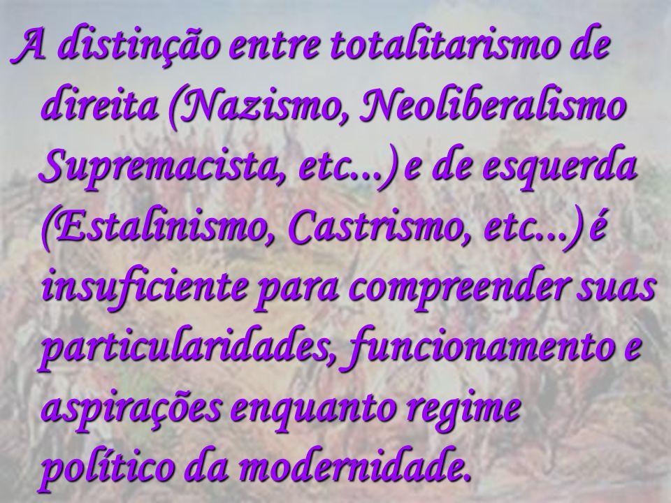 A distinção entre totalitarismo de direita (Nazismo, Neoliberalismo Supremacista, etc...) e de esquerda (Estalinismo, Castrismo, etc...) é insuficiente para compreender suas particularidades, funcionamento e aspirações enquanto regime político da modernidade.