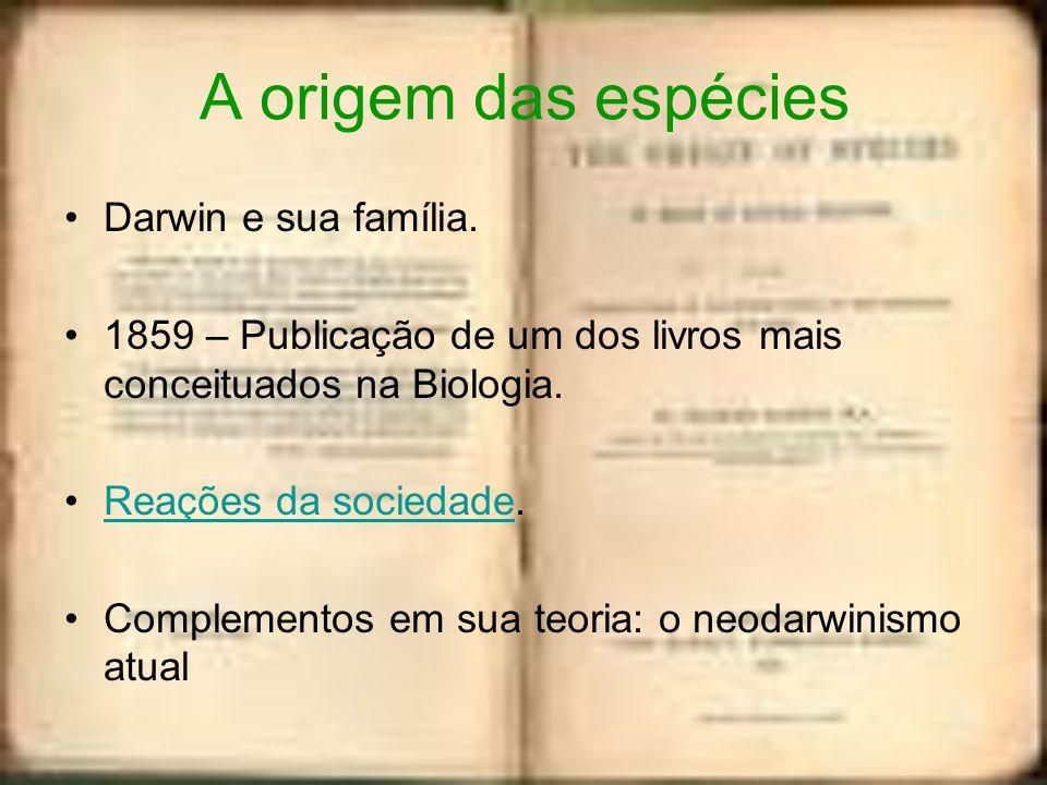 A origem das espécies Darwin e sua família.