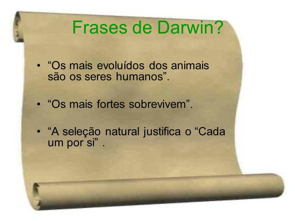 Frases de Darwin Os mais evoluídos dos animais são os seres humanos . Os mais fortes sobrevivem .