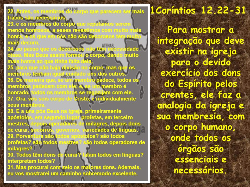 1Coríntios 12.22-3122. Antes, os membros do corpo que parecem ser mais fracos são necessários;