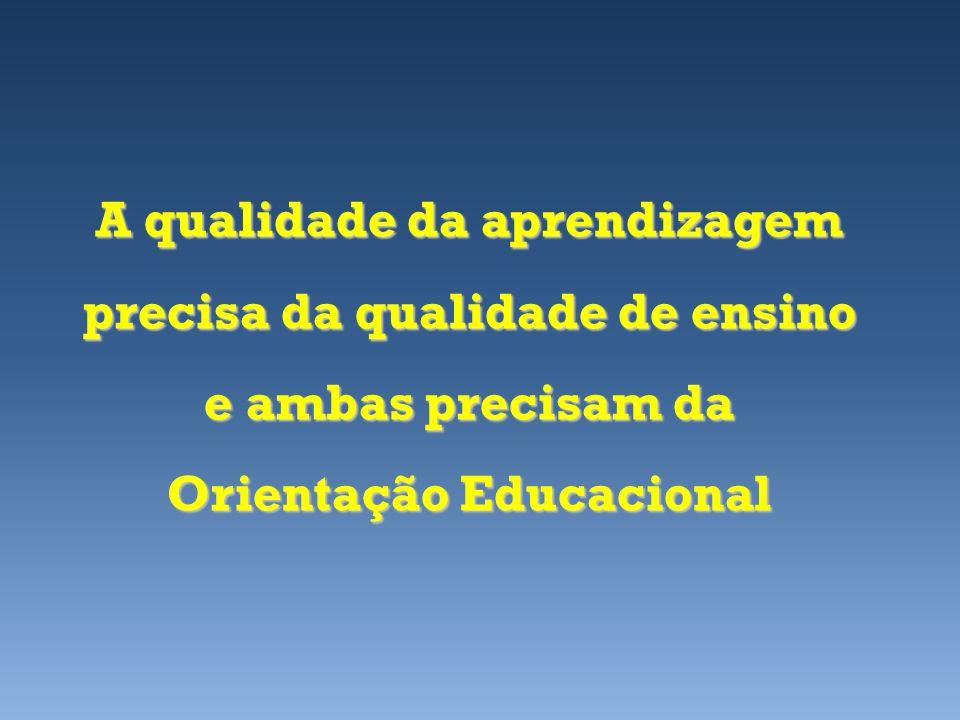 A qualidade da aprendizagem precisa da qualidade de ensino e ambas precisam da Orientação Educacional