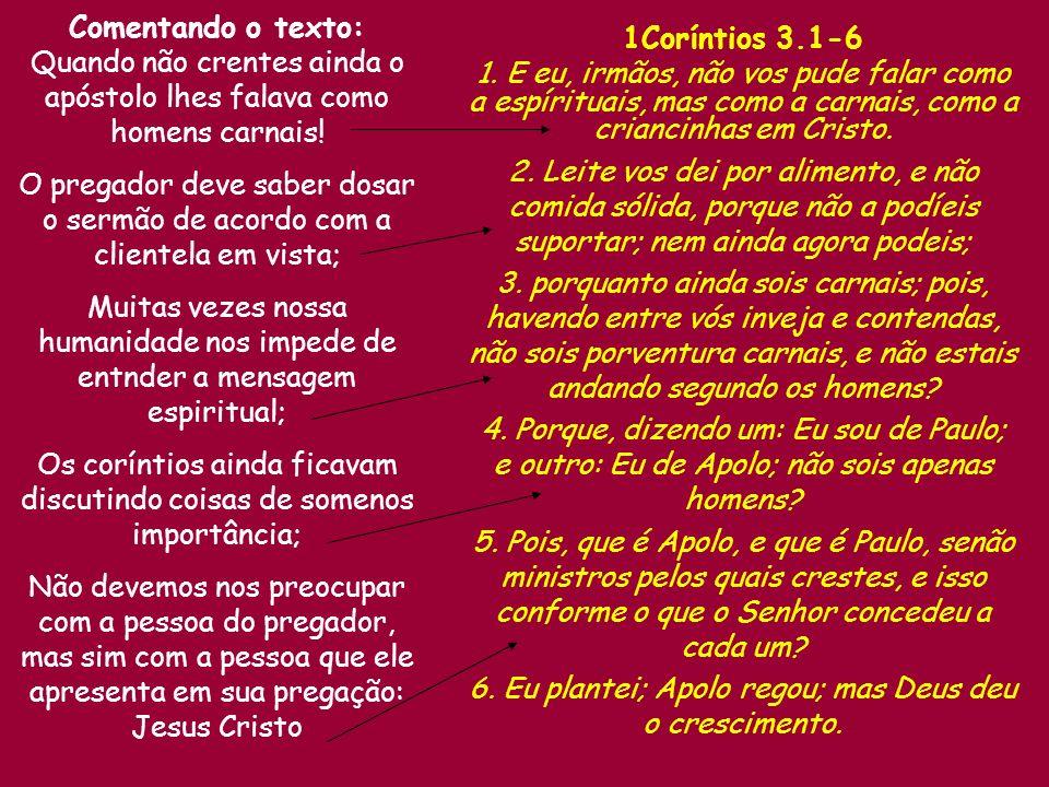 Comentando o texto: 1Coríntios 3.1-6