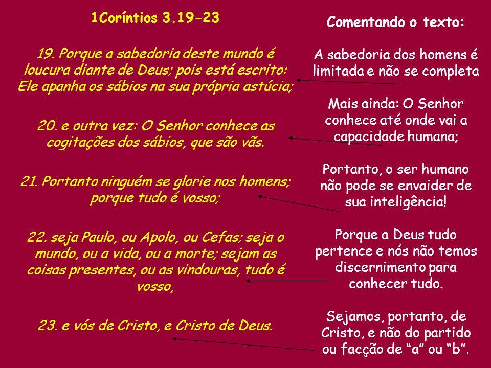 1Coríntios 3.19-23 Comentando o texto:
