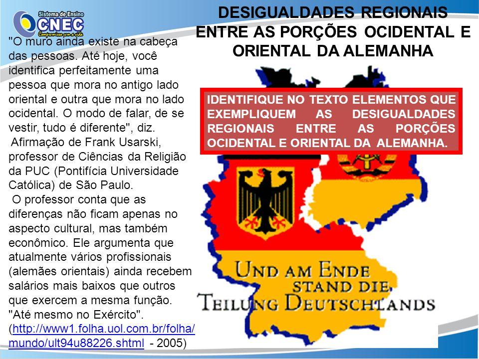 DESIGUALDADES REGIONAIS ENTRE AS PORÇÕES OCIDENTAL E ORIENTAL DA ALEMANHA