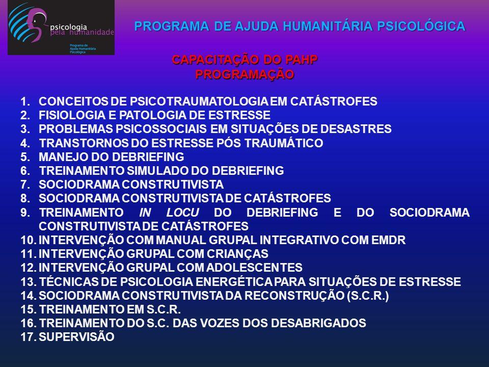 CAPACITAÇÃO DO PAHP PROGRAMAÇÃO