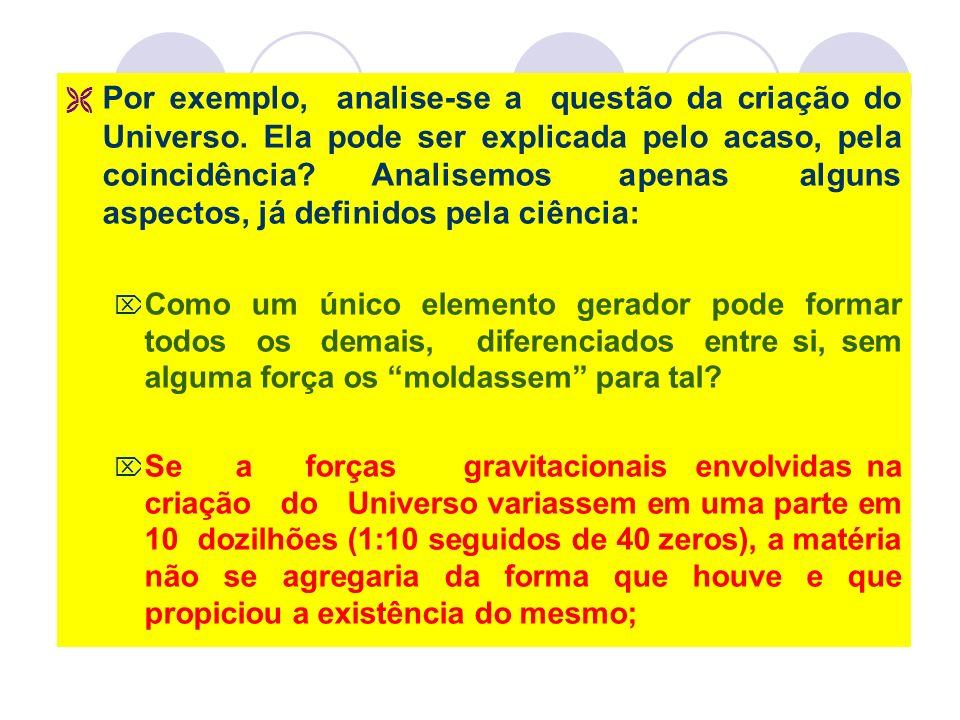 Por exemplo, analise-se a questão da criação do Universo