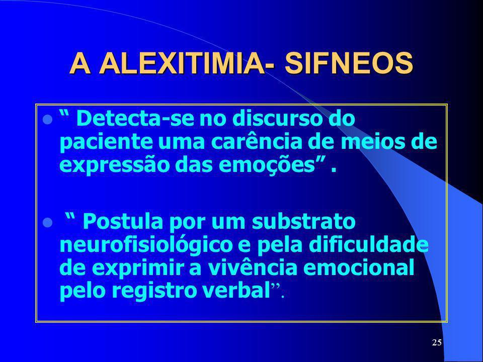 A ALEXITIMIA- SIFNEOS Detecta-se no discurso do paciente uma carência de meios de expressão das emoções .