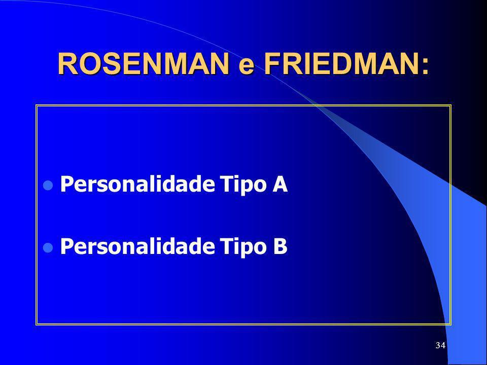ROSENMAN e FRIEDMAN: Personalidade Tipo A Personalidade Tipo B