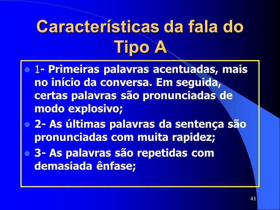 Características da fala do Tipo A