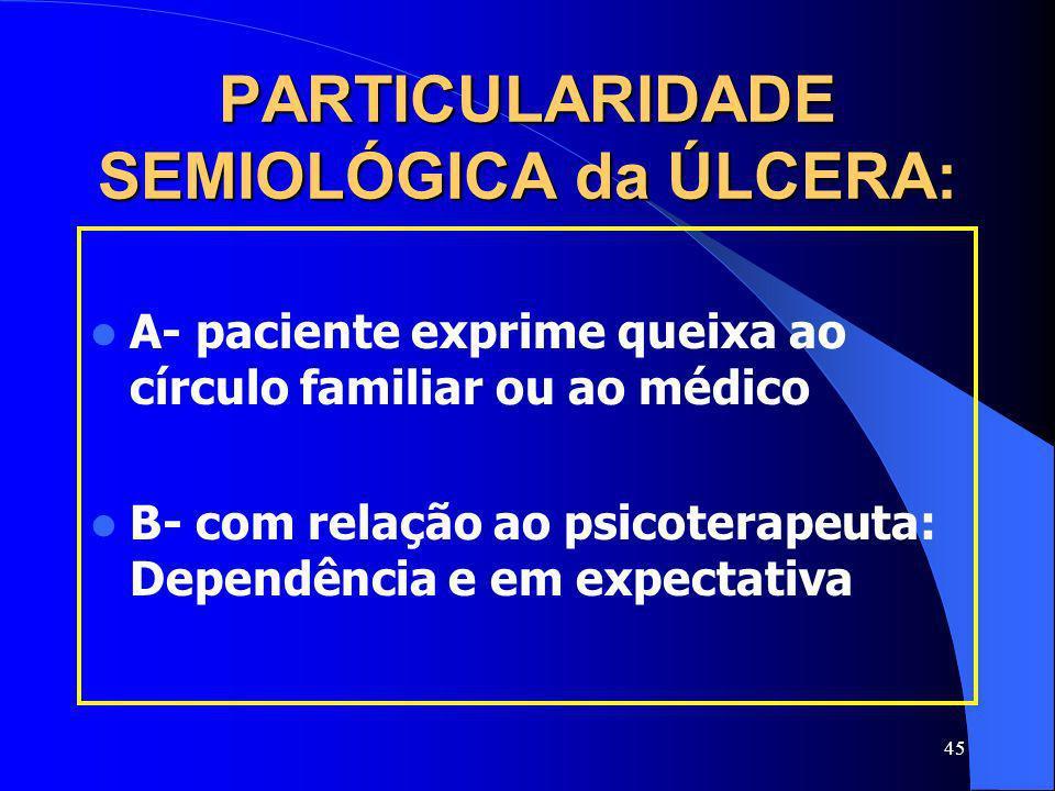 PARTICULARIDADE SEMIOLÓGICA da ÚLCERA: