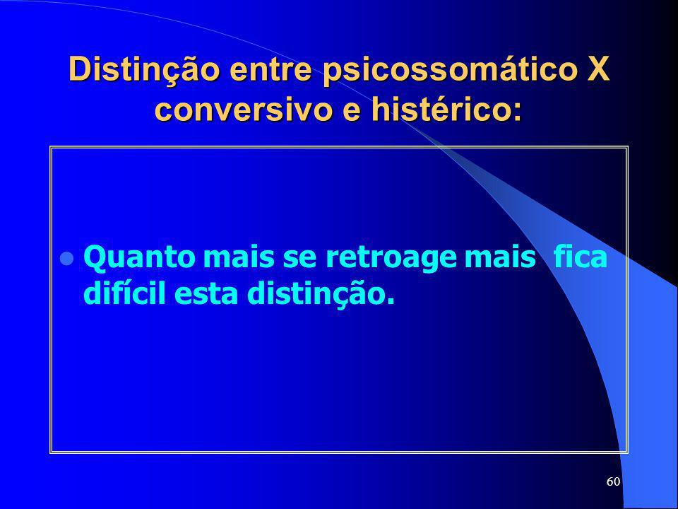 Distinção entre psicossomático X conversivo e histérico: