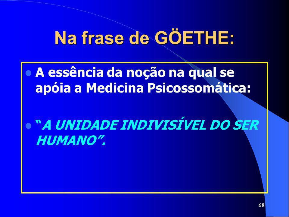Na frase de GÖETHE: A essência da noção na qual se apóia a Medicina Psicossomática: A UNIDADE INDIVISÍVEL DO SER HUMANO .