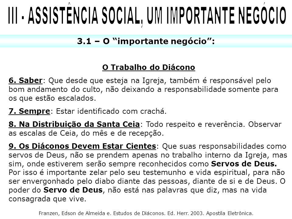 III - ASSISTÊNCIA SOCIAL, UM IMPORTANTE NEGÓCIO