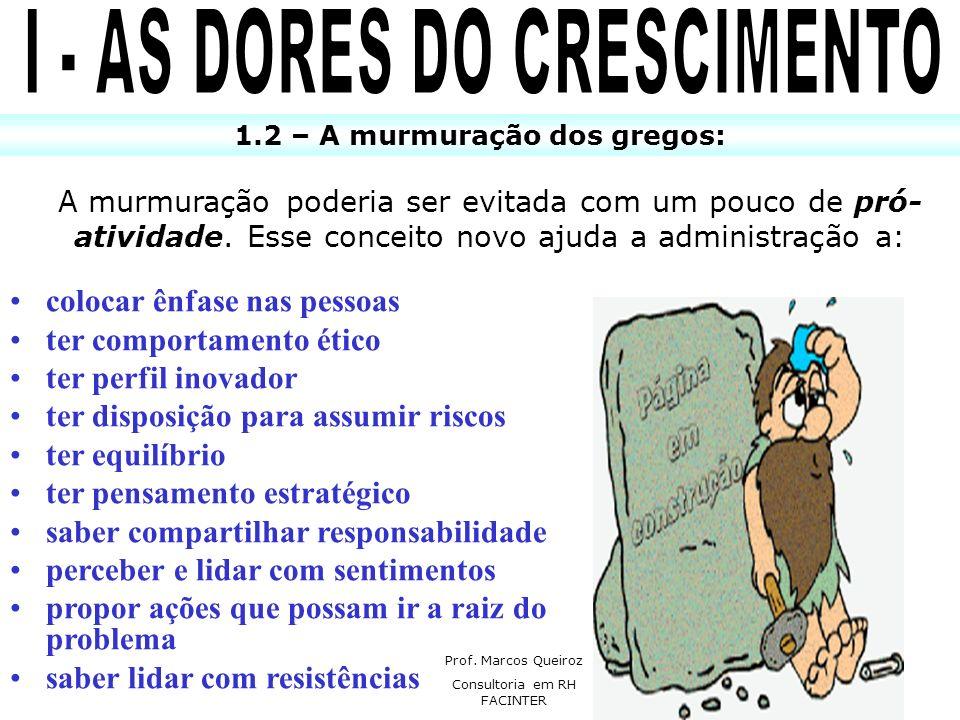 I - AS DORES DO CRESCIMENTO 1.2 – A murmuração dos gregos: