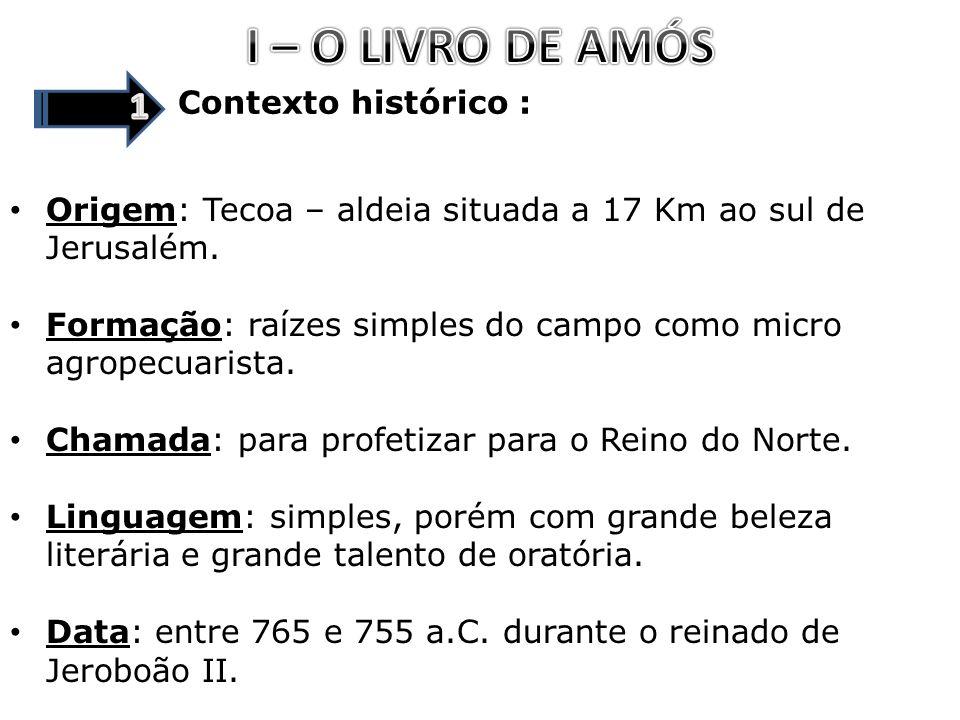 I – O LIVRO DE AMÓS 1 Contexto histórico :