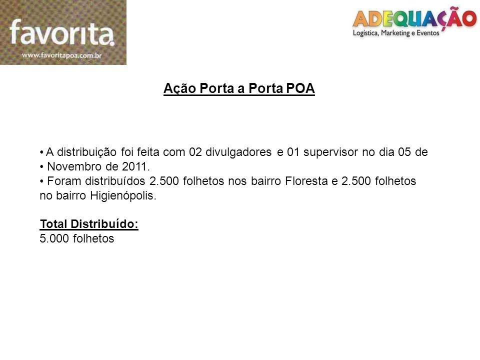 Ação Porta a Porta POA A distribuição foi feita com 02 divulgadores e 01 supervisor no dia 05 de. Novembro de 2011.