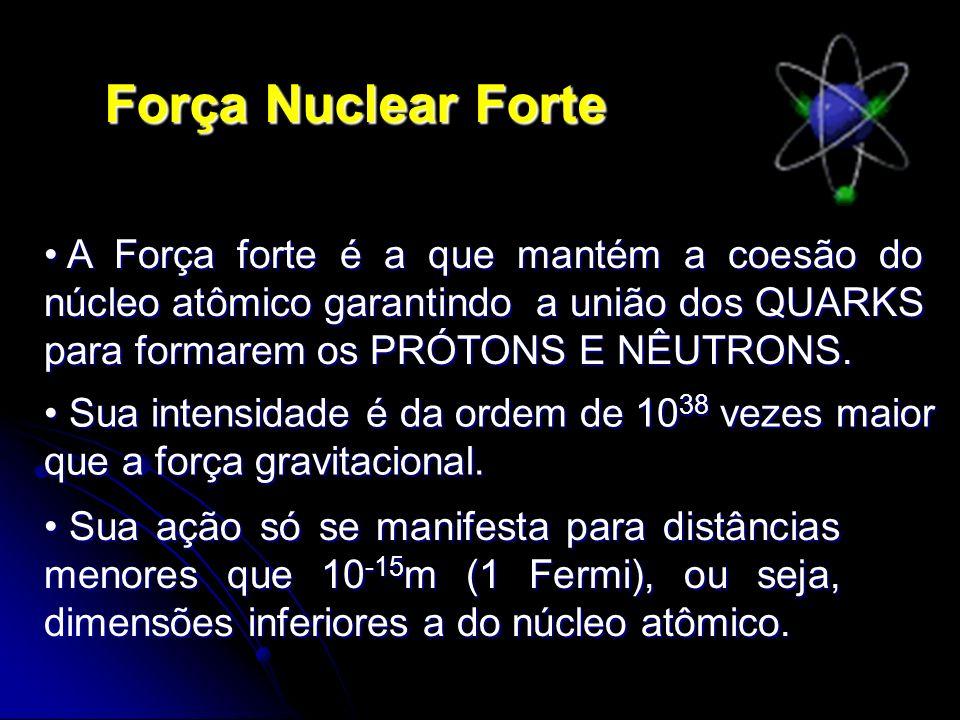 Força Nuclear Forte A Força forte é a que mantém a coesão do núcleo atômico garantindo a união dos QUARKS para formarem os PRÓTONS E NÊUTRONS.
