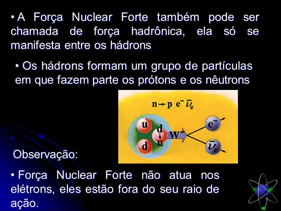 A Força Nuclear Forte também pode ser chamada de força hadrônica, ela só se manifesta entre os hádrons