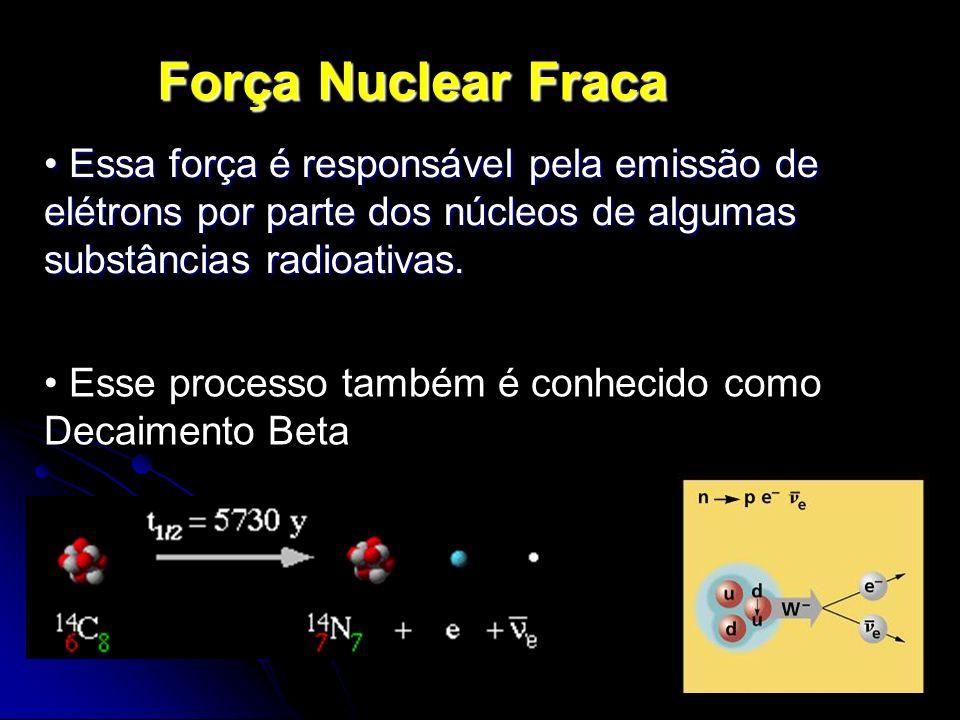 Força Nuclear Fraca Essa força é responsável pela emissão de elétrons por parte dos núcleos de algumas substâncias radioativas.