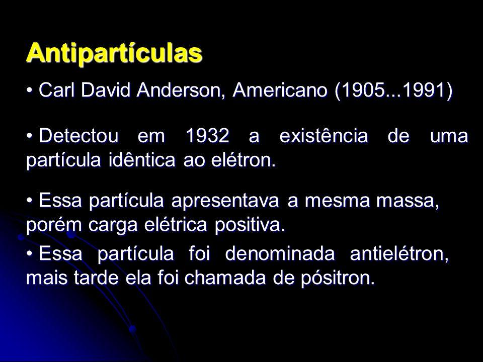 Antipartículas Carl David Anderson, Americano (1905...1991)