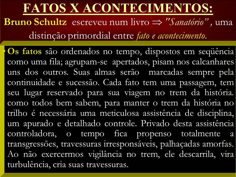 FATOS X ACONTECIMENTOS: Bruno Schultz escreveu num livro  Sanatório , uma distinção primordial entre fato e acontecimento.
