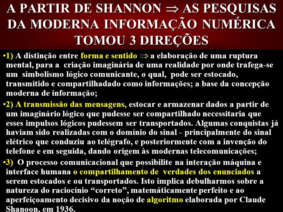 A PARTIR DE SHANNON  AS PESQUISAS DA MODERNA INFORMAÇÃO NUMÉRICA TOMOU 3 DIREÇÕES