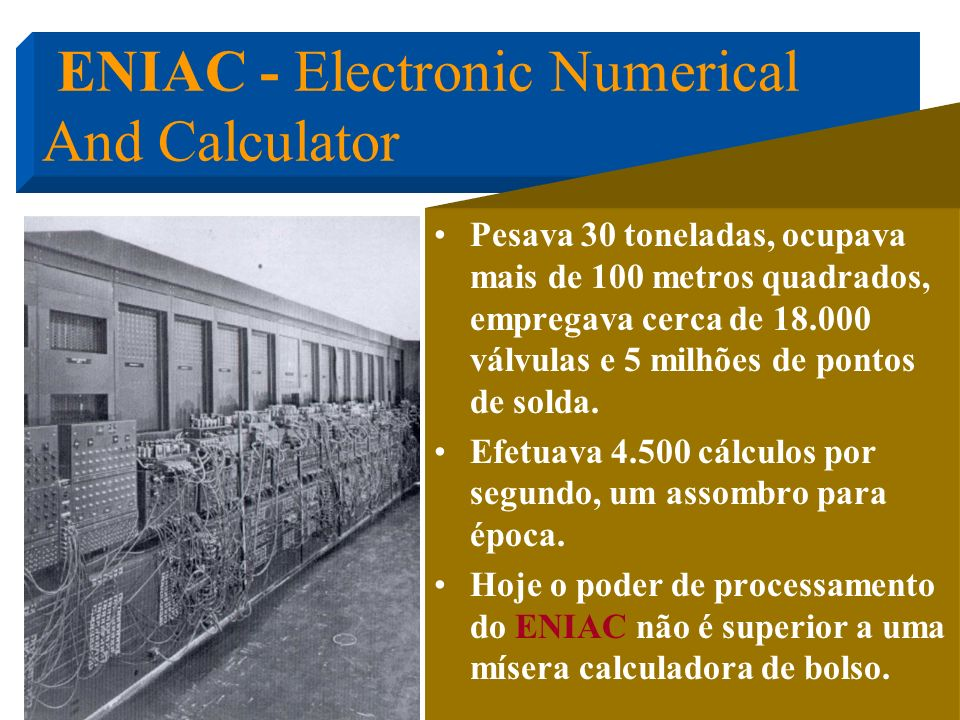 ENIAC - Electronic Numerical And Calculator