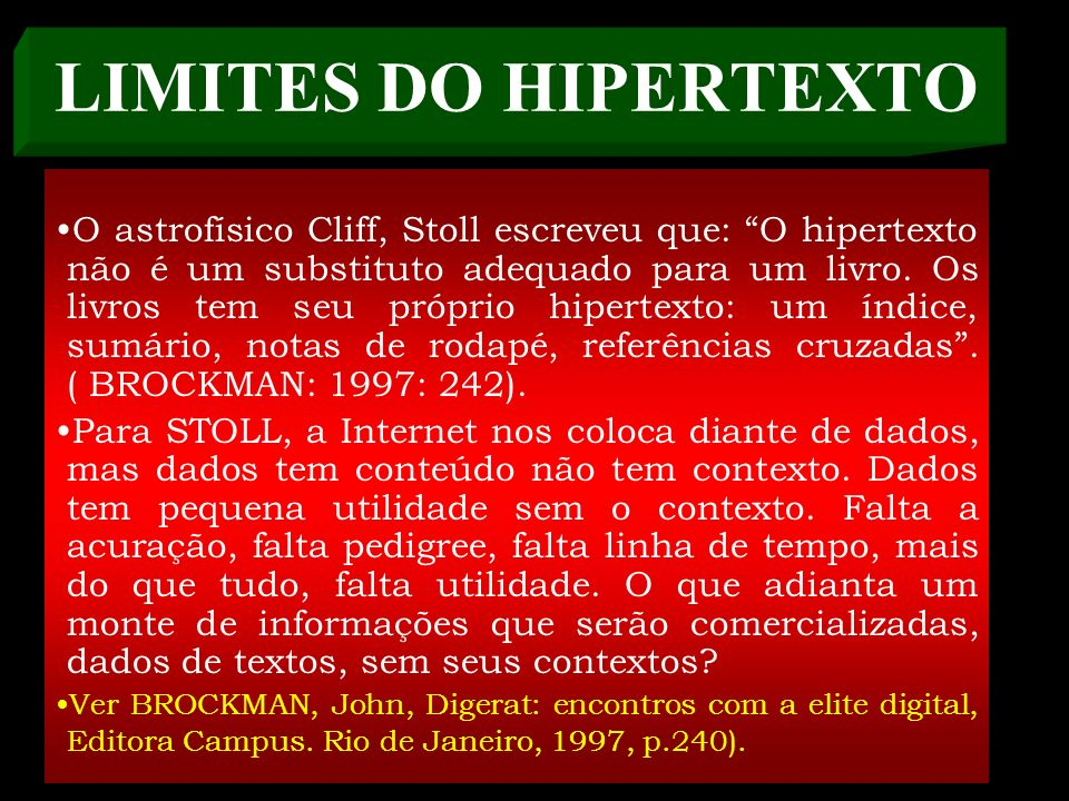 LIMITES DO HIPERTEXTO