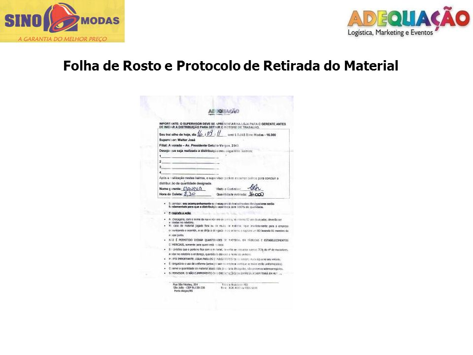 Folha de Rosto e Protocolo de Retirada do Material
