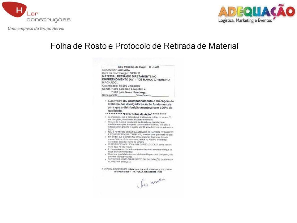 Folha de Rosto e Protocolo de Retirada de Material