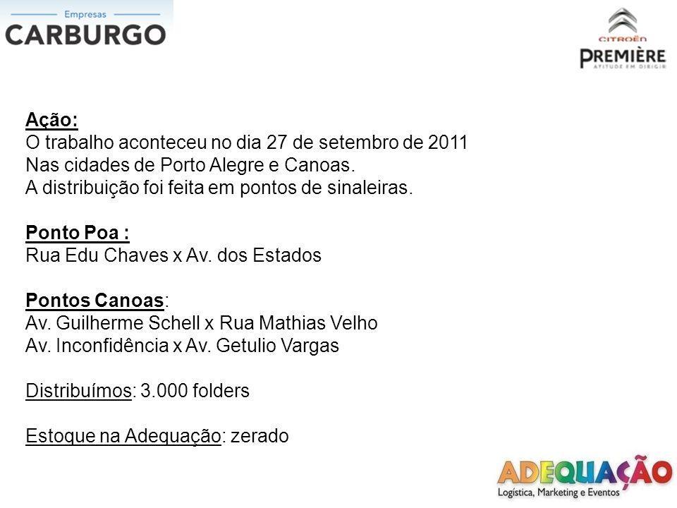 Ação: O trabalho aconteceu no dia 27 de setembro de 2011. Nas cidades de Porto Alegre e Canoas. A distribuição foi feita em pontos de sinaleiras.