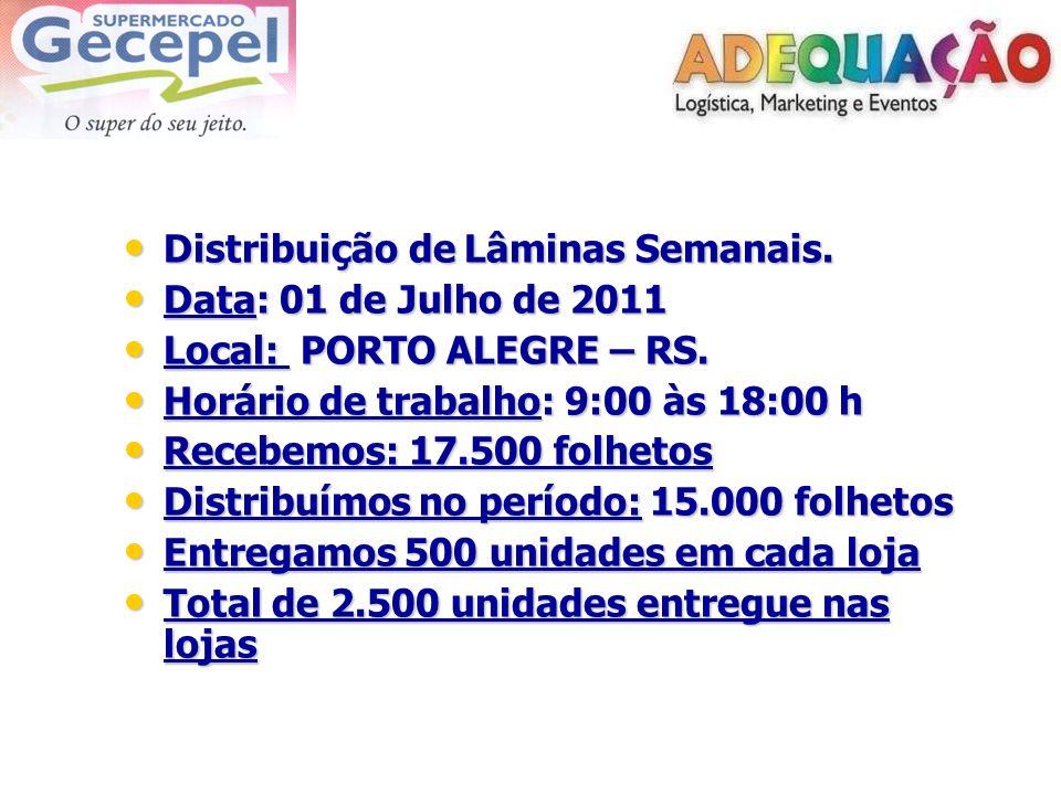 Distribuição de Lâminas Semanais.