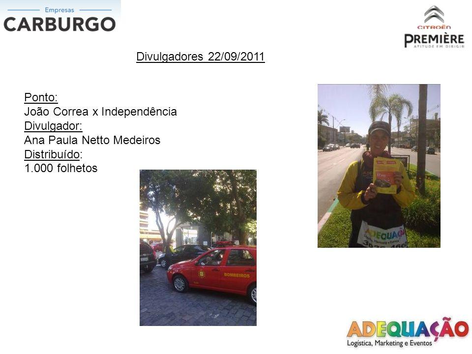 Divulgadores 22/09/2011 Ponto: João Correa x Independência. Divulgador: Ana Paula Netto Medeiros.