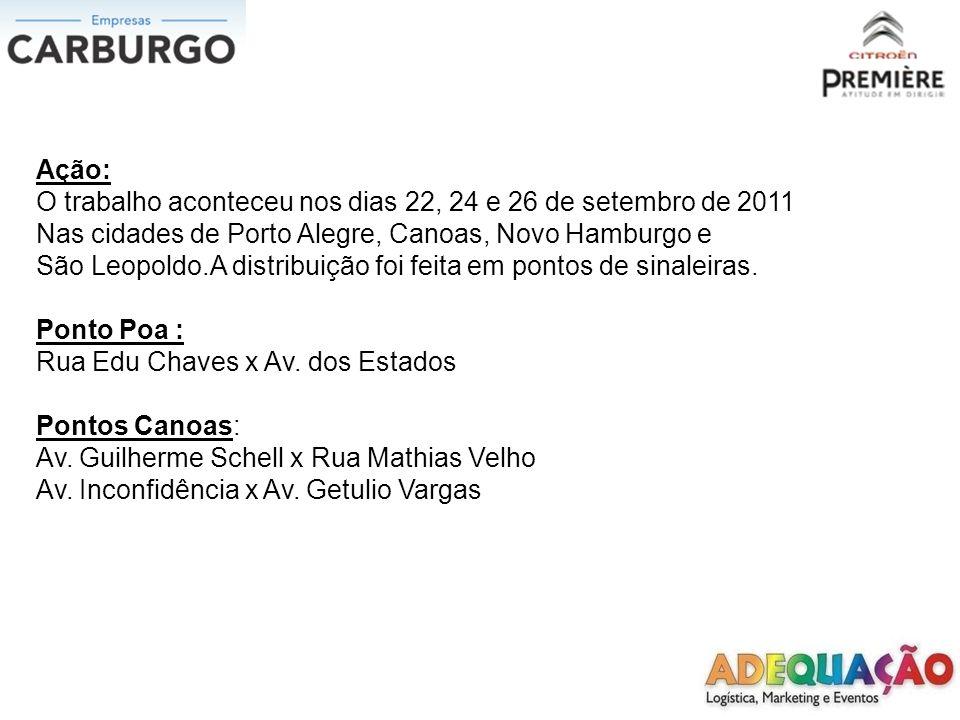 Ação: O trabalho aconteceu nos dias 22, 24 e 26 de setembro de 2011. Nas cidades de Porto Alegre, Canoas, Novo Hamburgo e.
