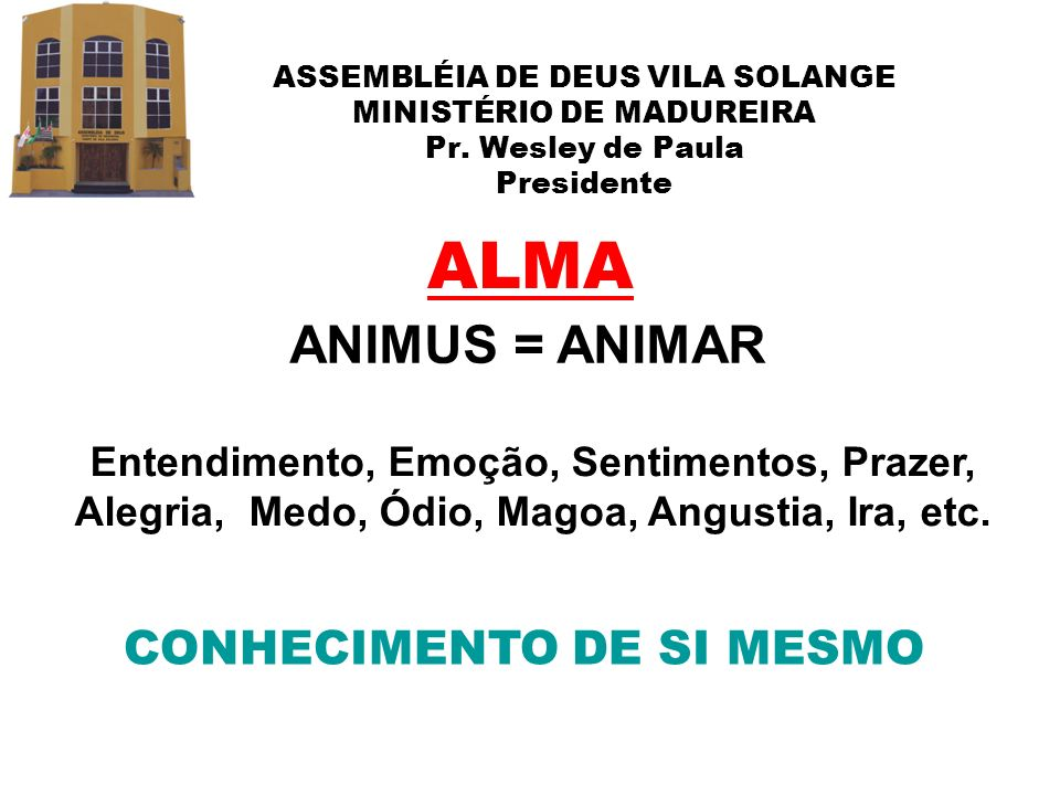 ALMA ANIMUS = ANIMAR CONHECIMENTO DE SI MESMO