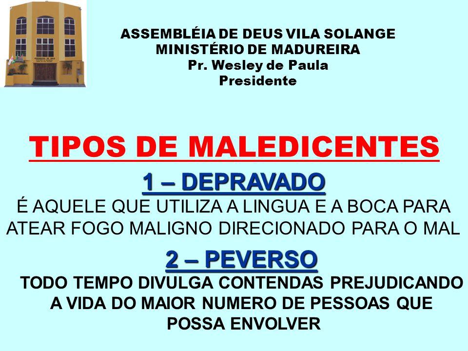TIPOS DE MALEDICENTES 1 – DEPRAVADO 2 – PEVERSO