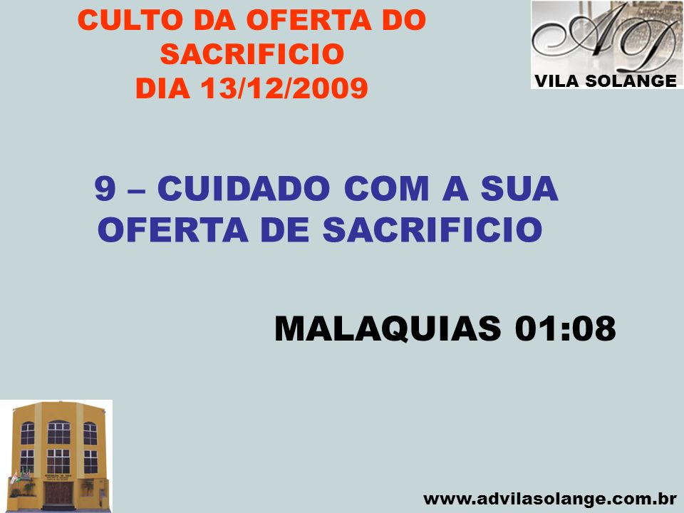 CULTO DA OFERTA DO SACRIFICIO