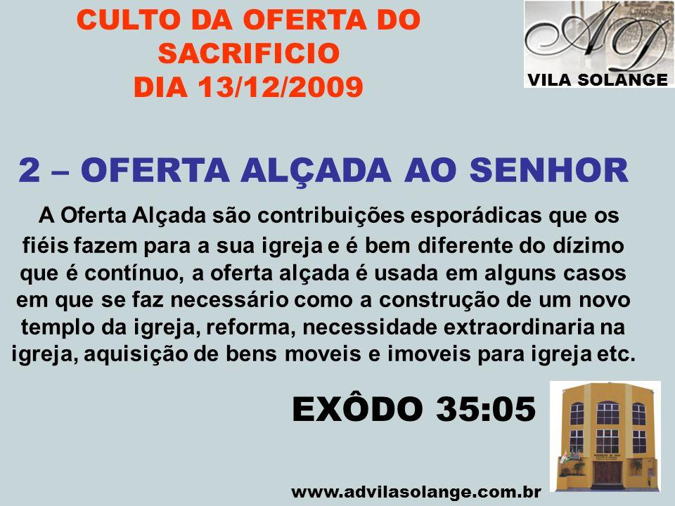 CULTO DA OFERTA DO SACRIFICIO 2 – OFERTA ALÇADA AO SENHOR