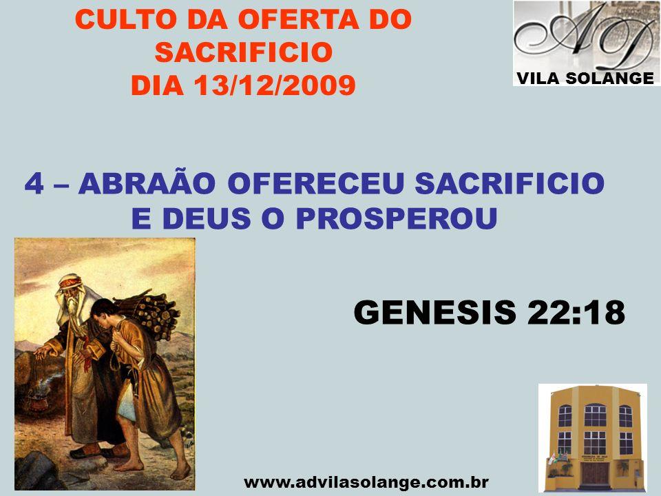 CULTO DA OFERTA DO SACRIFICIO 4 – ABRAÃO OFERECEU SACRIFICIO