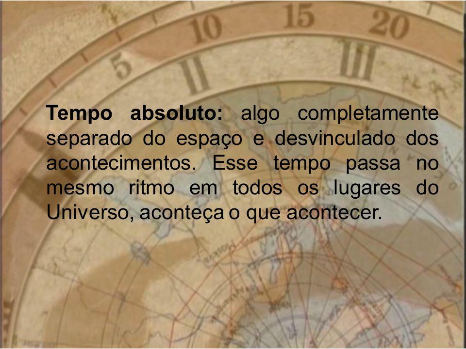 Tempo absoluto: algo completamente separado do espaço e desvinculado dos acontecimentos.